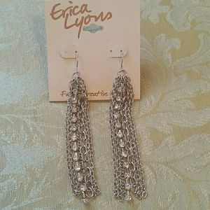Erica Lyons Silver Chain Pierced Earrings
